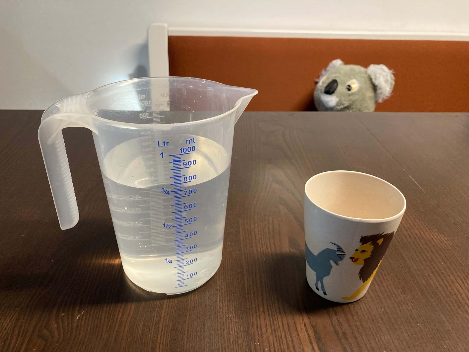 Messbecher mit 800ml Wasser und ein Kindertrinkbecher