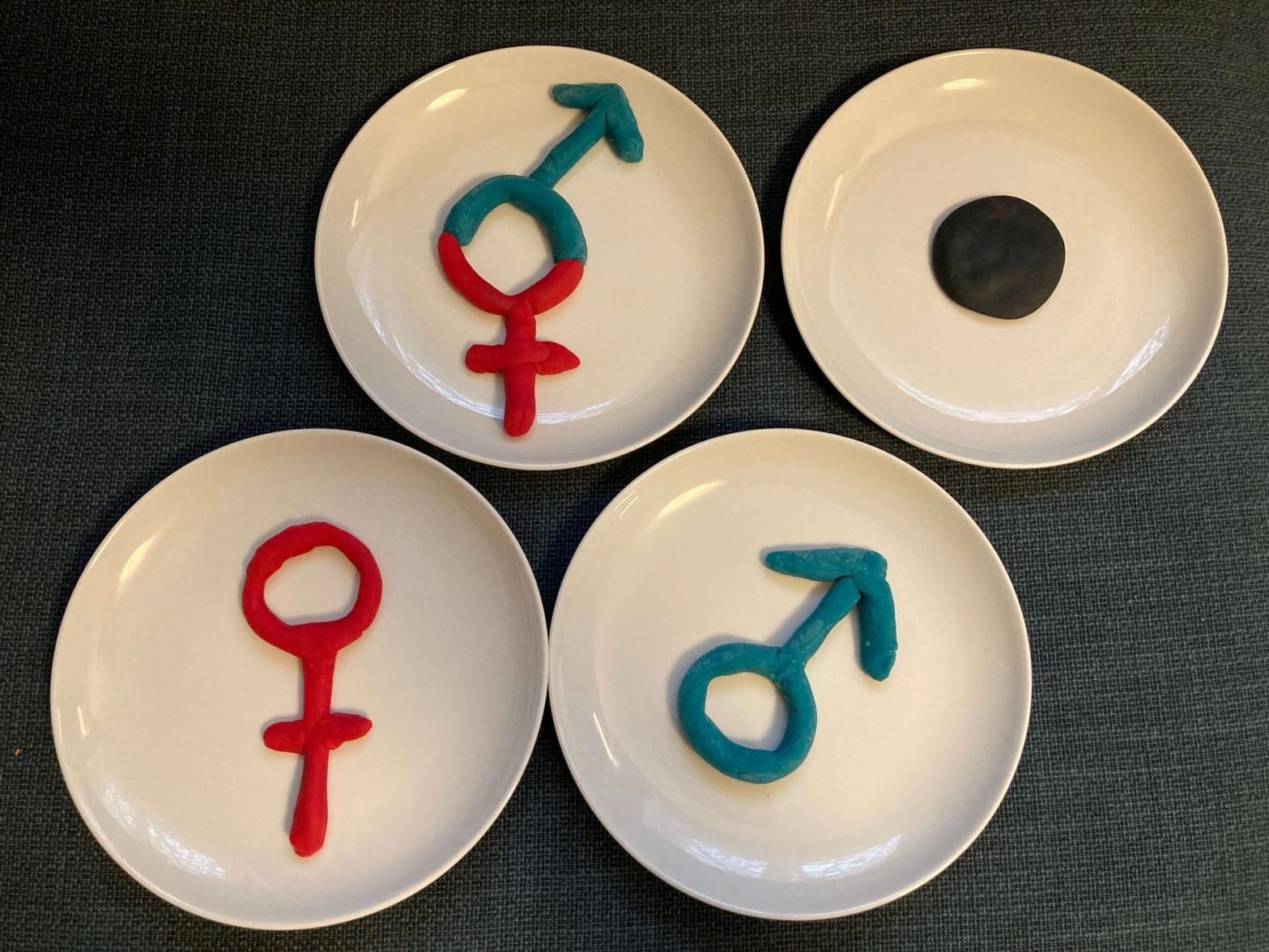 Symbole männlich weiblich quer asexuell Sauberkeitserziehung Frauensache